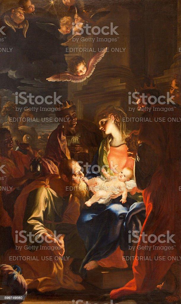 Rome - The painting of Three Magi stock photo