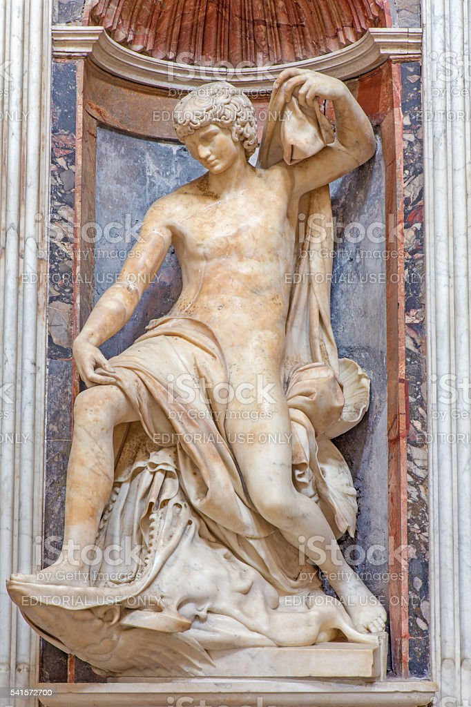 Rome - The prophet Jonah marble statue stock photo