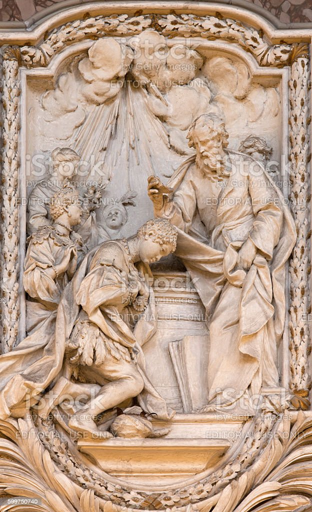 Rome - The relief of The Baptism of the Eunuch stock photo