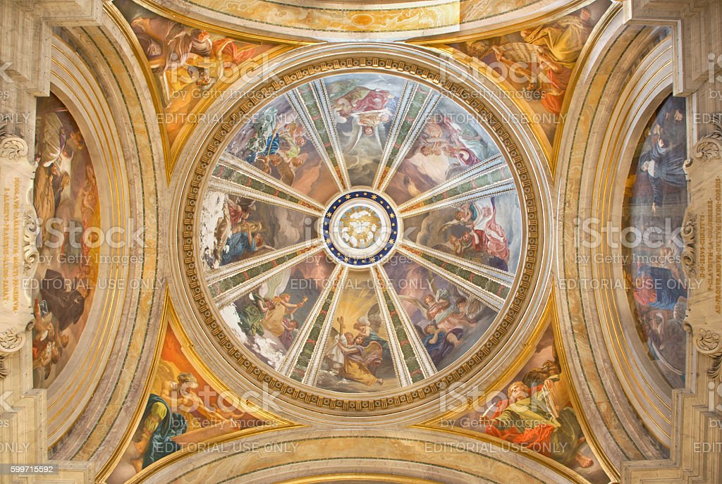 Rome - The side cupola with the Four Evangelist stock photo