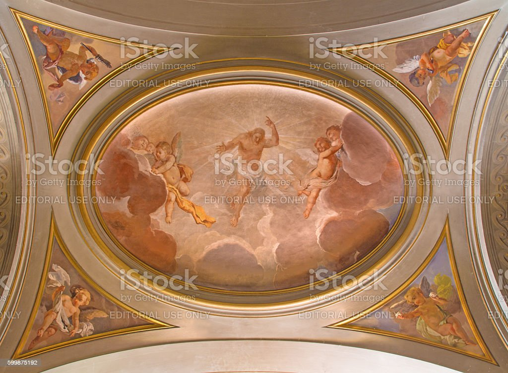 Rome - The symbolic fresco of resurrected Jesus stock photo