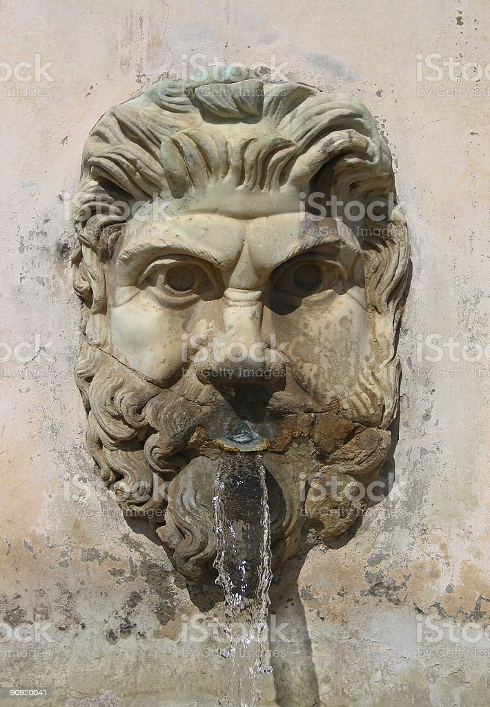 Rome - The Vatican museum, ancient fountain stock photo