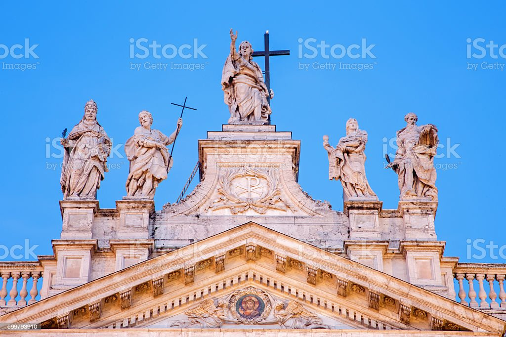 Rome - top of facade of St. John Lateran basilica stock photo
