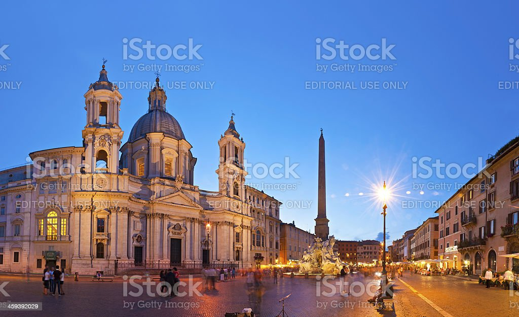 Rome tourists in the Piazza Navona at night Italy stock photo