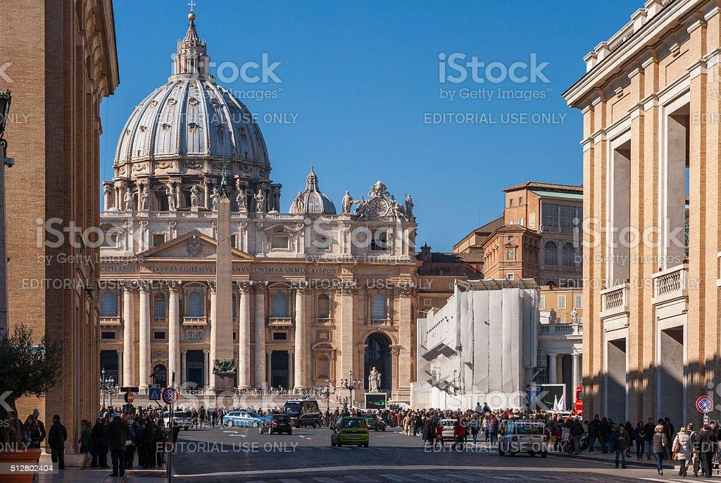 Rome. Via della Conciliazione and St Peter's facade with tourists stock photo