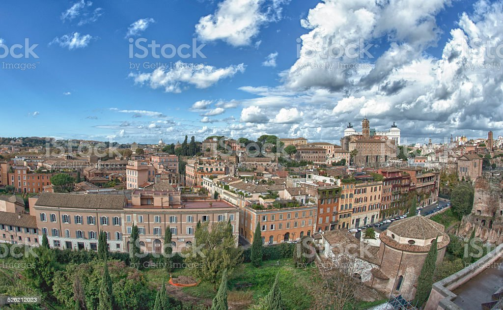 Rome view with saint peter vatican dome stock photo