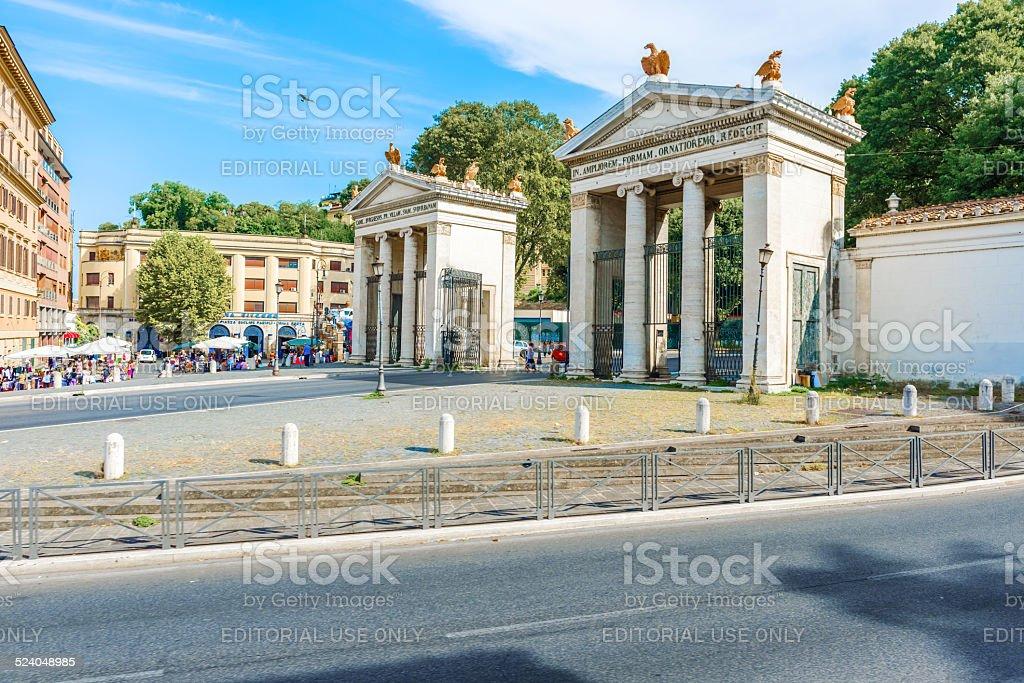 Rome Villa Borghese entrance at Via Veneto in Rome, Italy. stock photo
