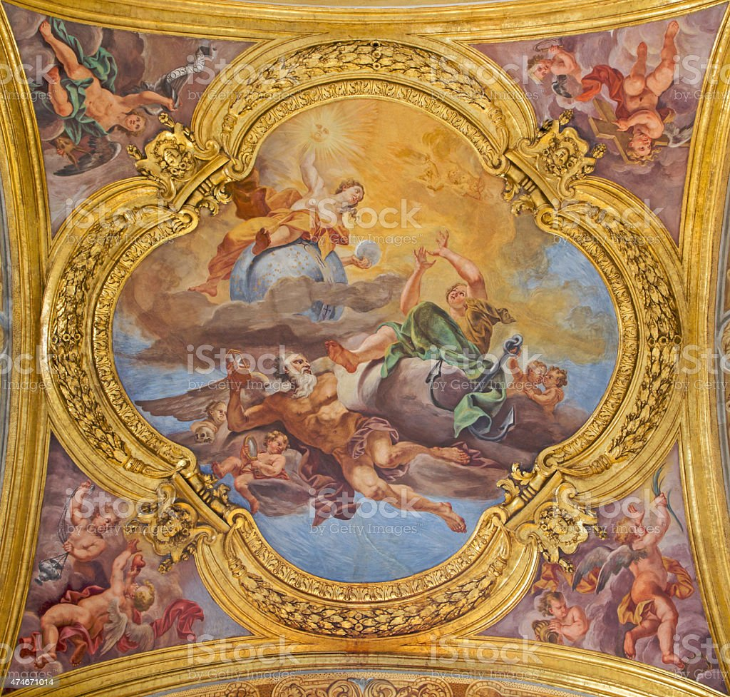 Rome -  virtues of Hope and Truth symbolic fresco stock photo