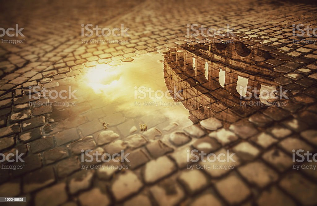 Rome Water Reflections: the Colosseum stock photo