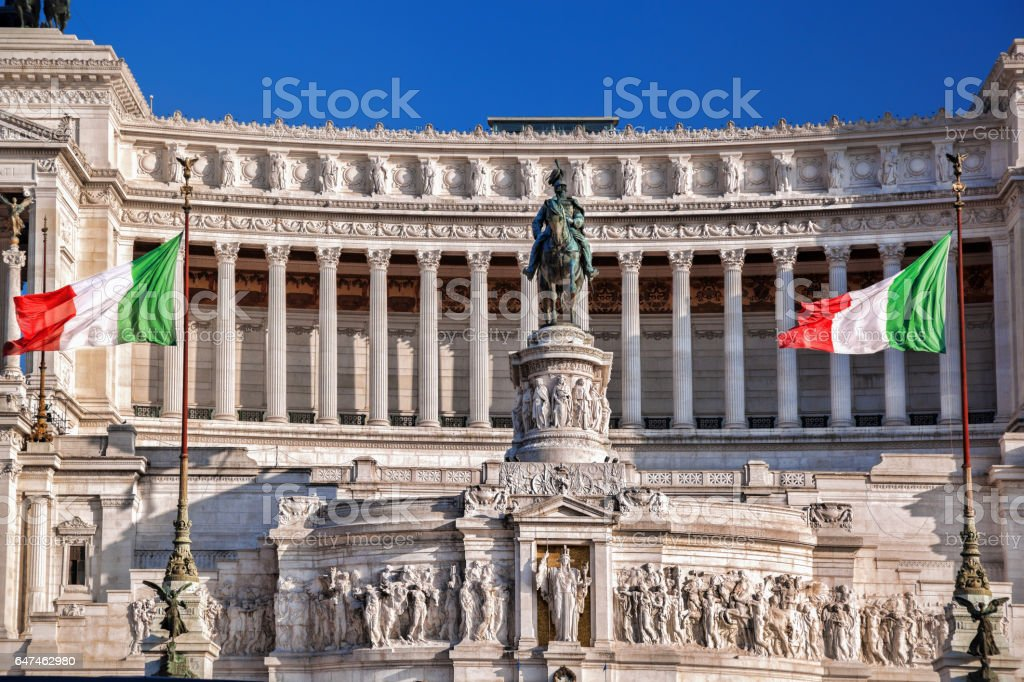 Rome with National Monument of Victor Emmanuel II in Italy stock photo