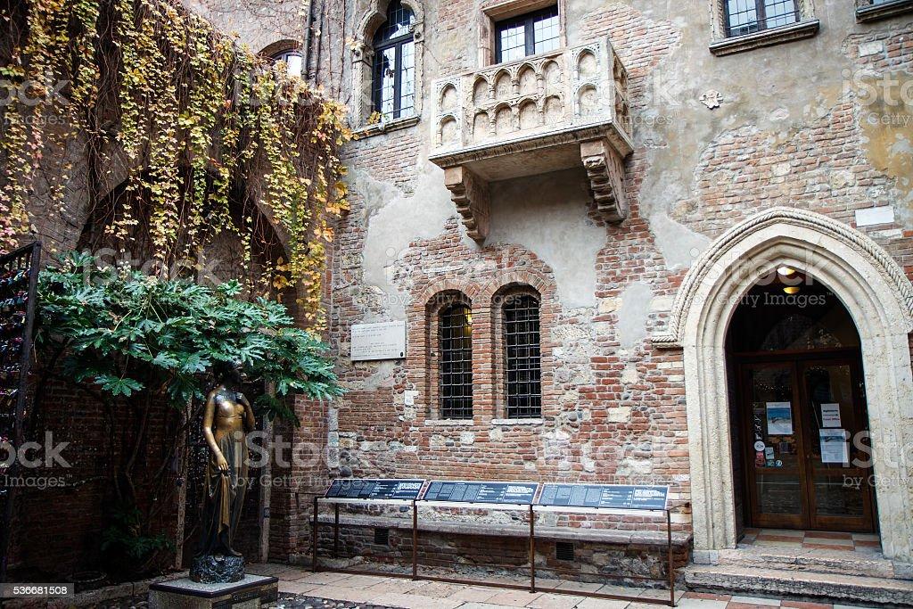 Romeo and Juliet balcony in Verona, Italy stock photo