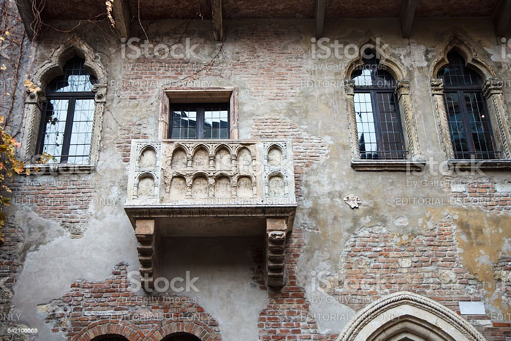 Romeo and Juliet balcony in Verona, Italy stock photo