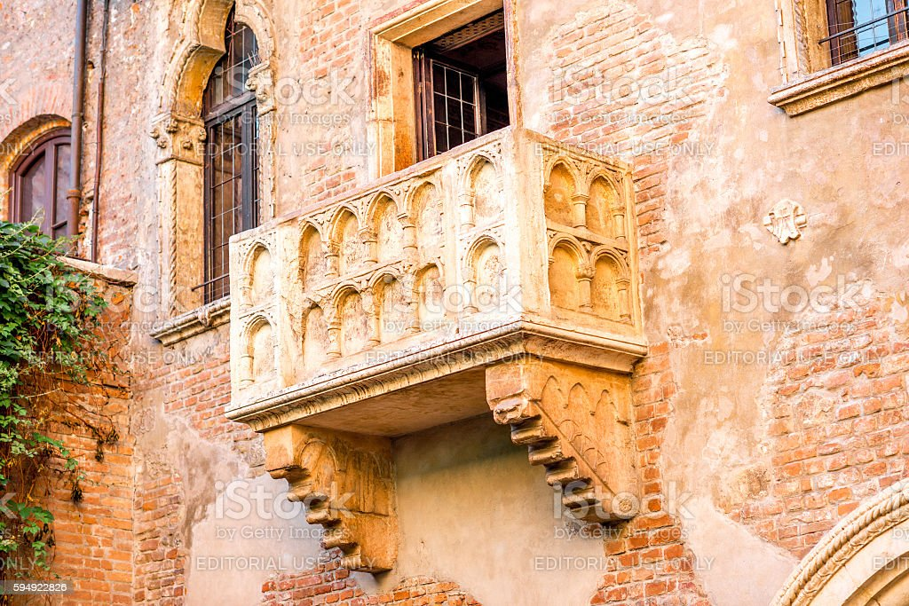 Romeo and Juliet balcony in Verona stock photo