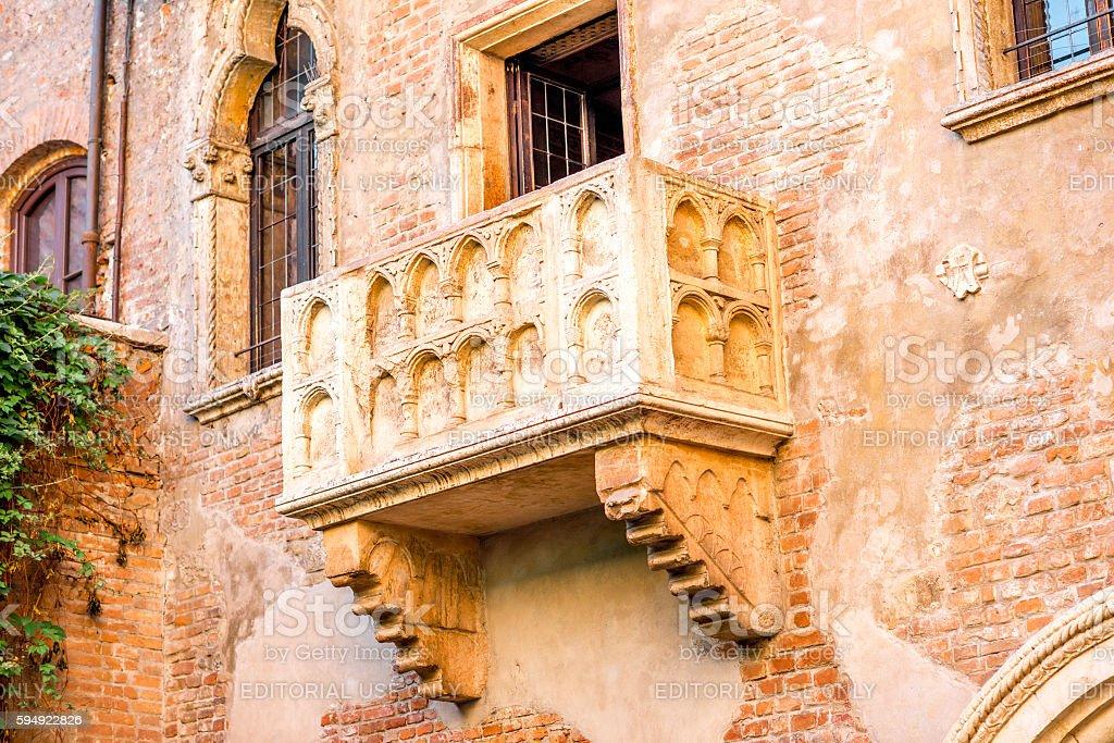 Romeo and Juliet balcony in Verona stock photo