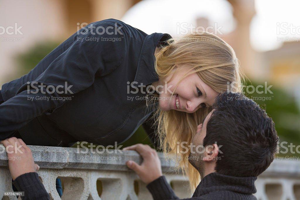Romeo and Juliet - couple at balcony stock photo