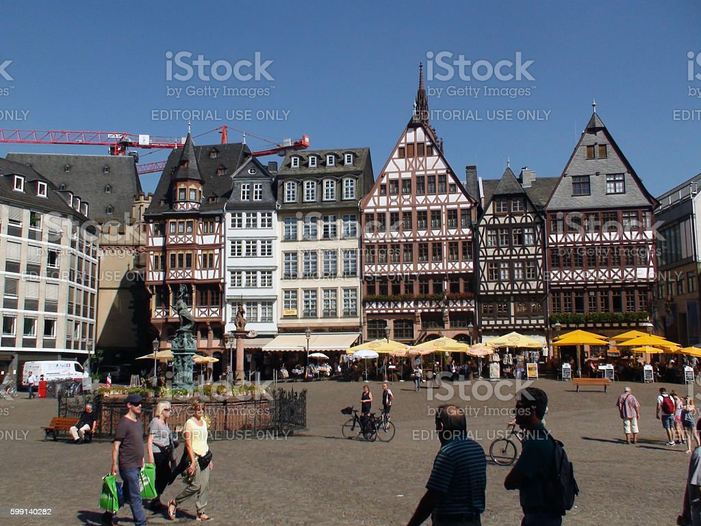 Romerberg Square Situated In Frankfurt Germany And People stock photo