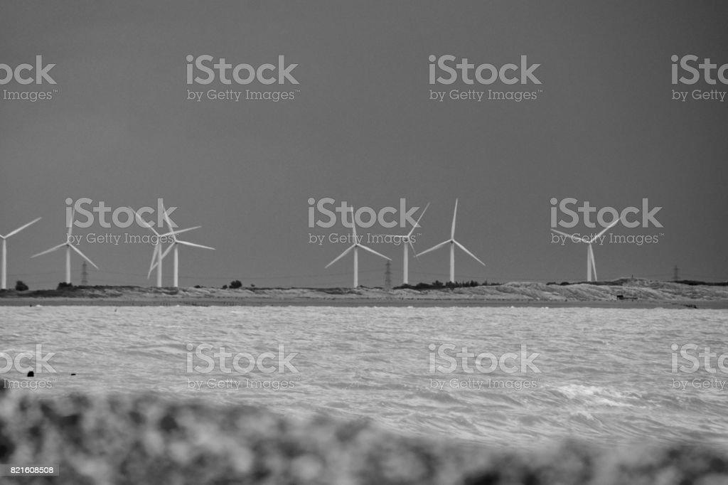 Romney Marsh Windfarm stock photo