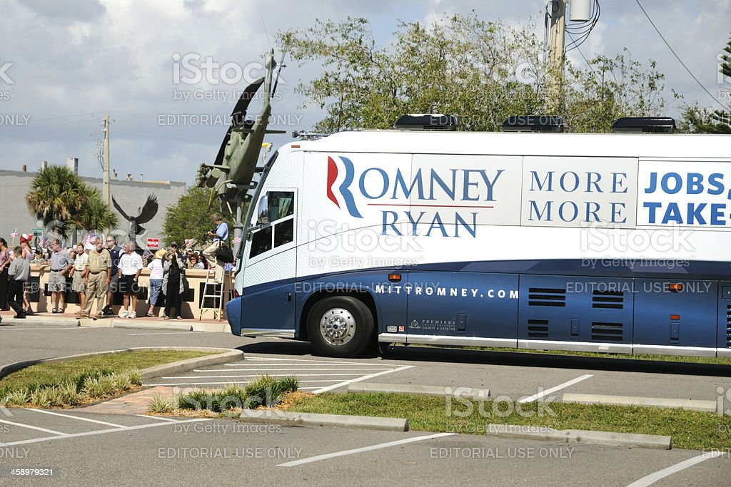 Romney Ryan campaign bus arrives Republican  rally in Florida stock photo
