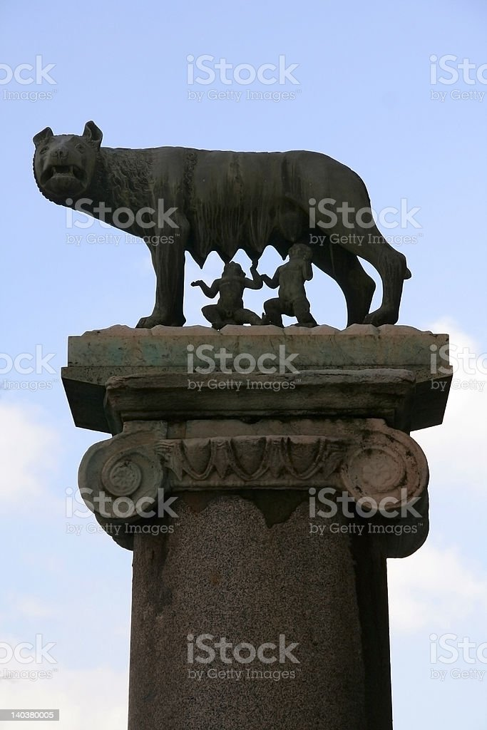 Romulus and Remus fed by she-wolf royalty-free stock photo