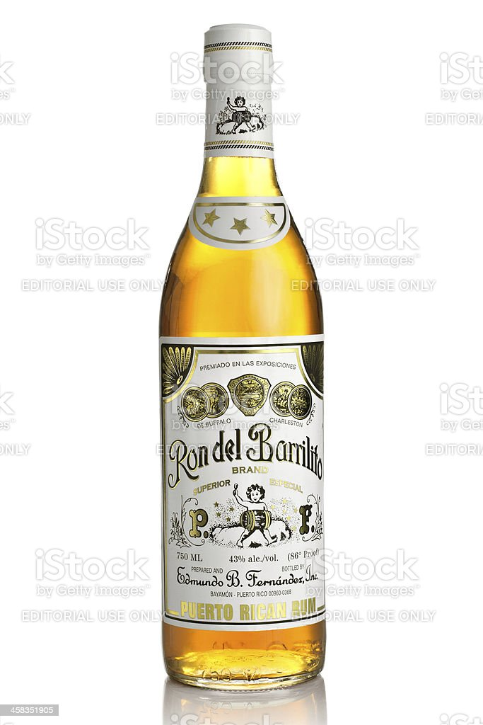 Ron del Barrilito. Puerto Rican Rum bottle royalty-free stock photo
