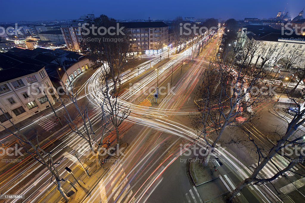 Rondò della Forca square in Turin, night view, from above royalty-free stock photo