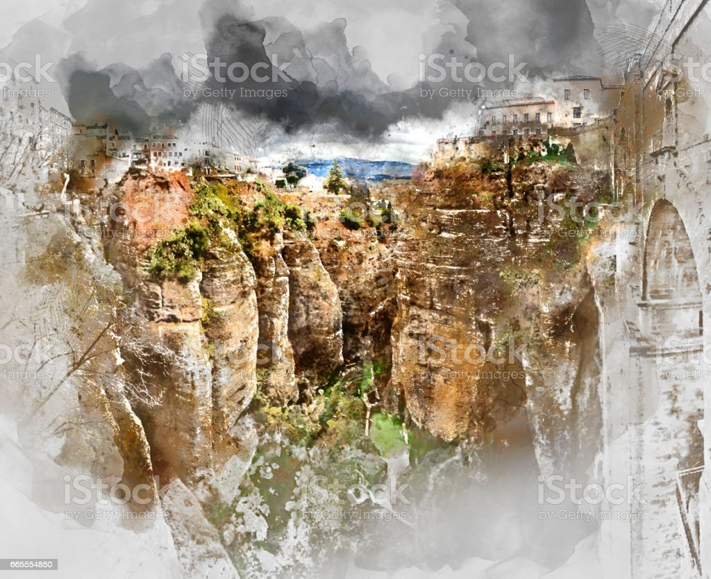 Ronda canyon stock photo