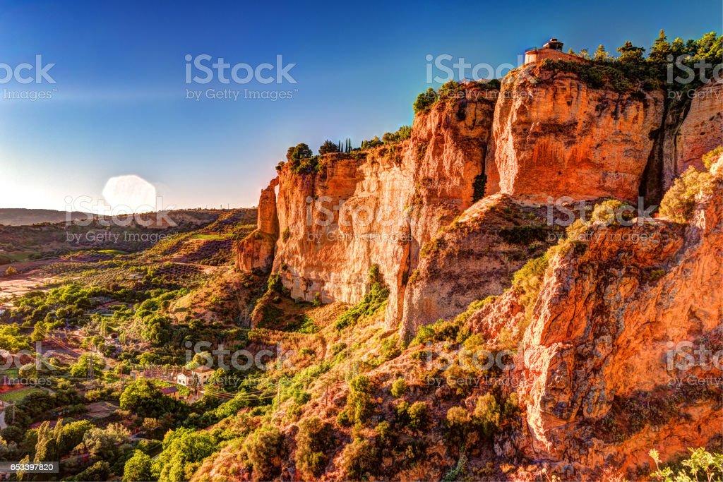 Ronda, Spain, a landscape with the Tajo Gorge stock photo