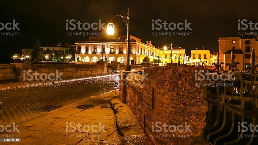 Ronda Spain by night stock photo