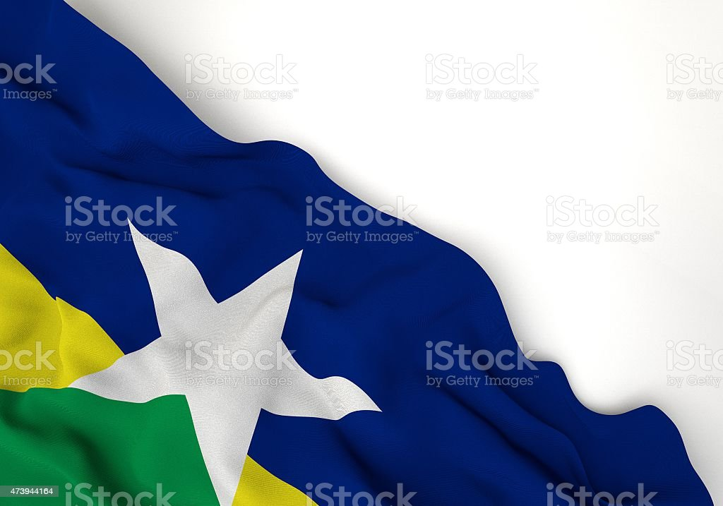 Rondonia state 3d corner flag stock photo
