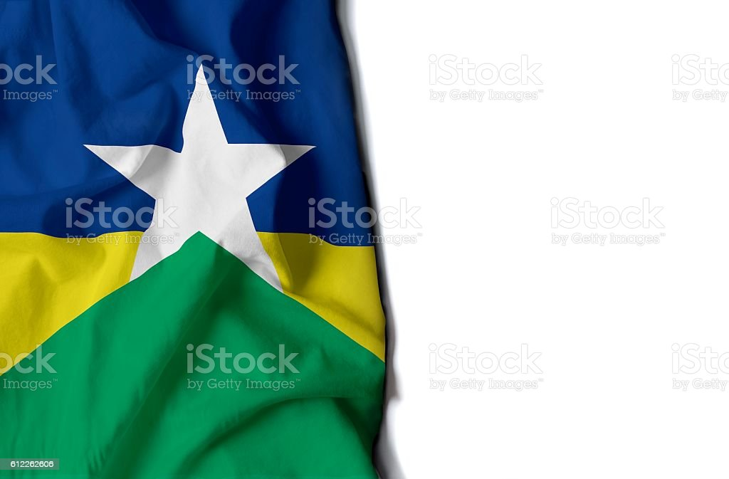 rondonia wrinkled flag, space for text stock photo