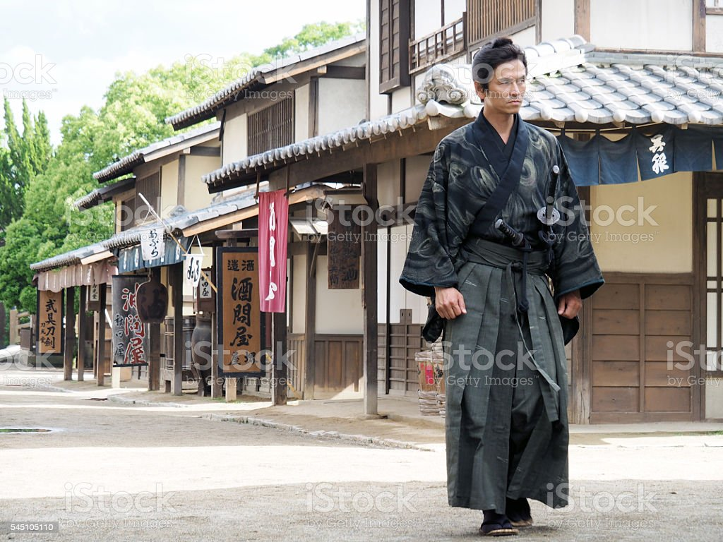 Ronin Is Walking In The Town. stock photo