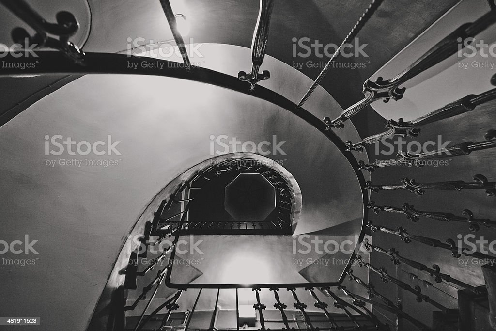 Roof above spiral staircase royalty-free stock photo