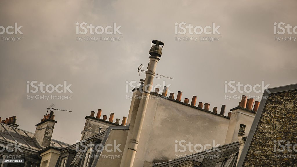 Roof and chimney Paris stock photo