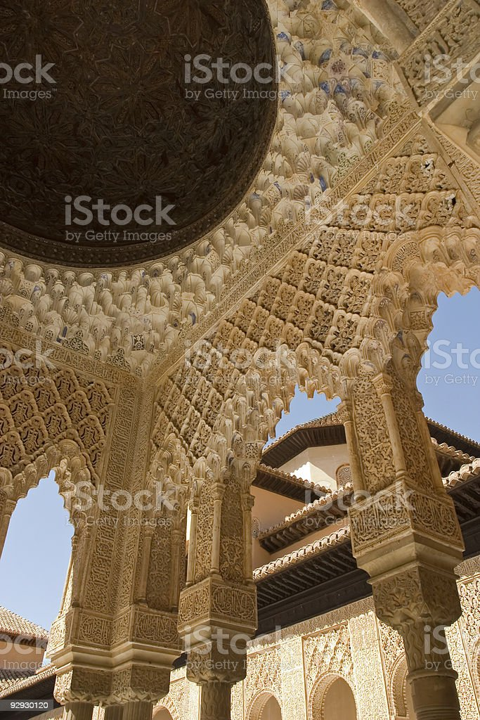 Roof and column detail in Alhambra stock photo
