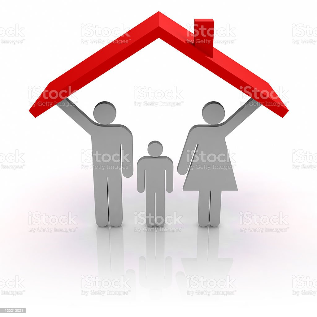 Roof and family stock photo