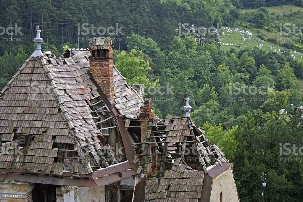 Roof and graveyard royalty-free stock photo