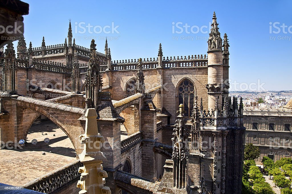 Roof and spires of the Saint Mary cathedral in Seville royalty-free stock photo