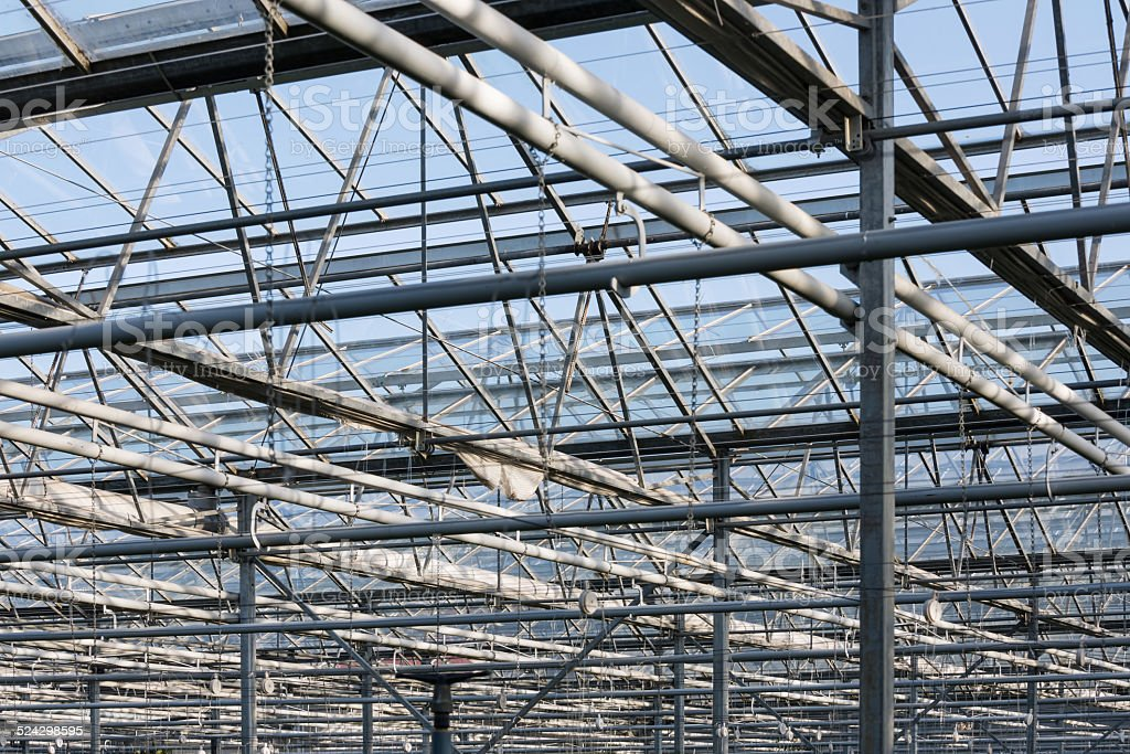 Roof and steel frame of Dutch greenhouse stock photo