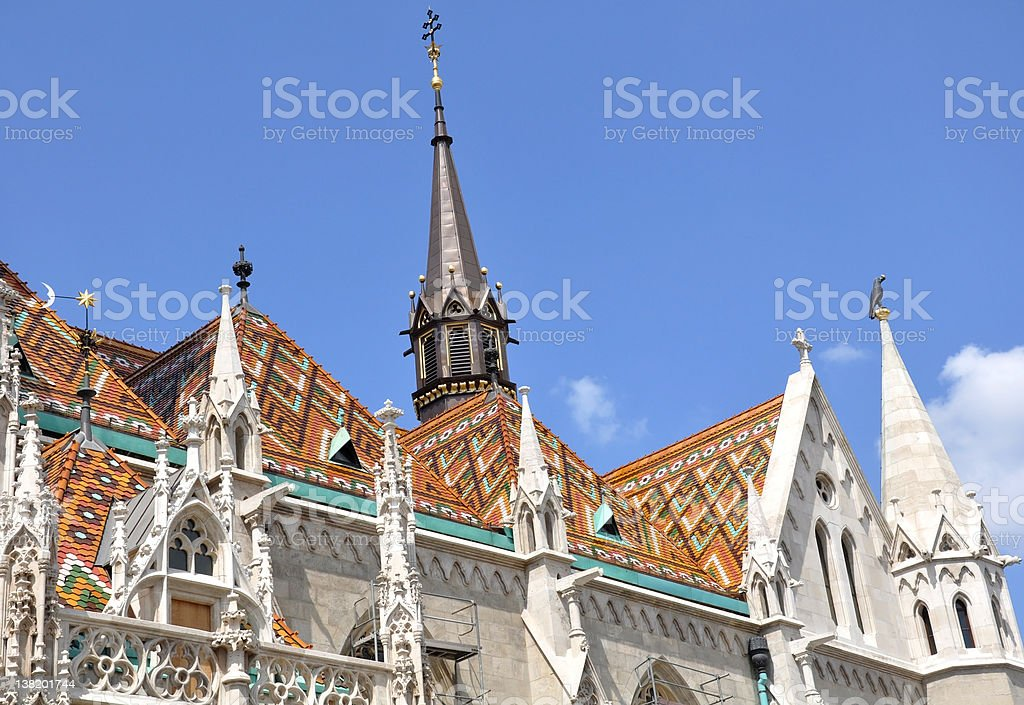 Roof and turrets of the Matthias Church, Budapest, Hungary stock photo