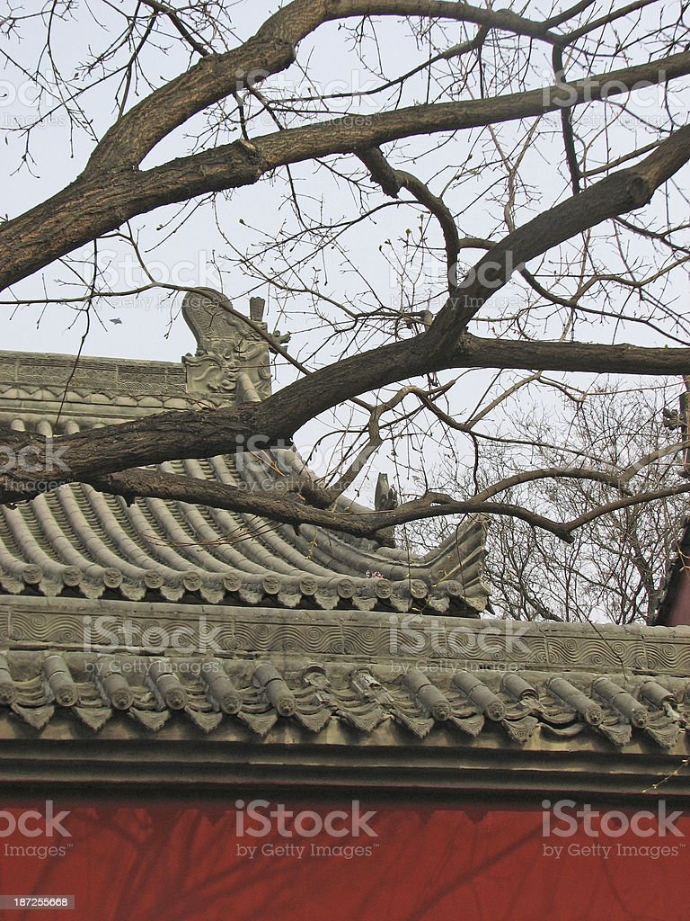 Roof and wall of an ancient building, Xian, China stock photo