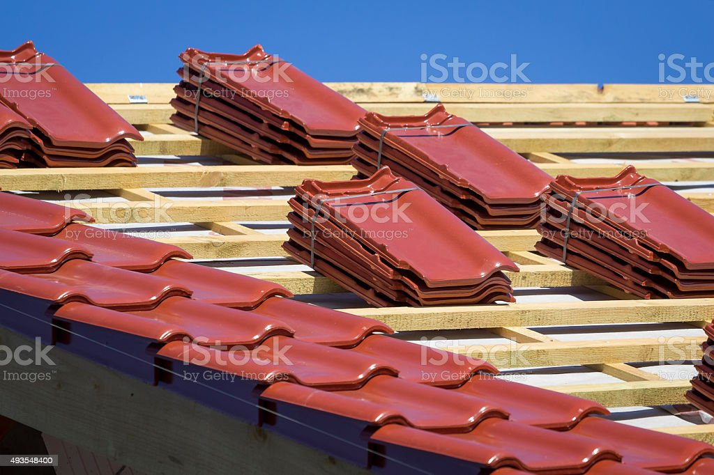 Roof building under construction stock photo