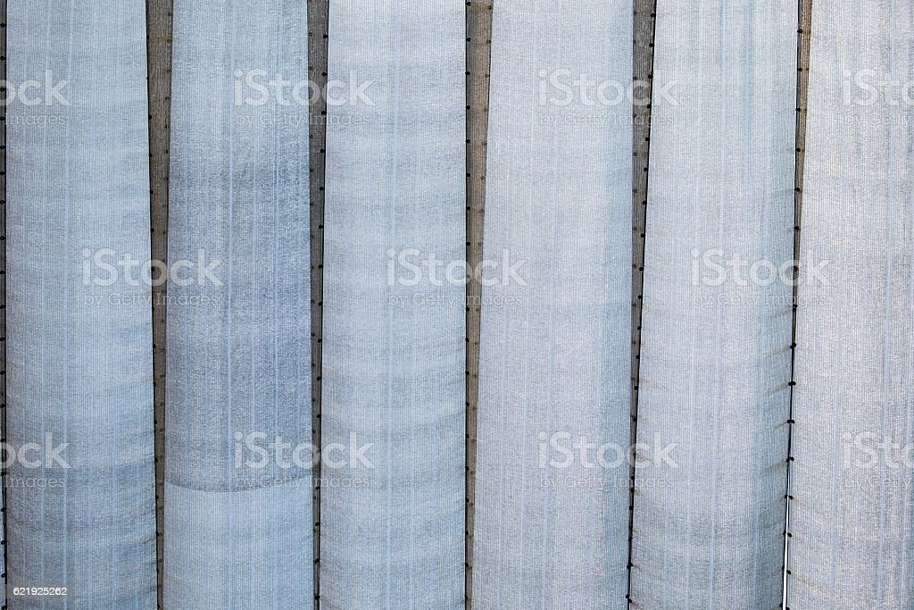 Roof canopy fabric arranged straight line stock photo