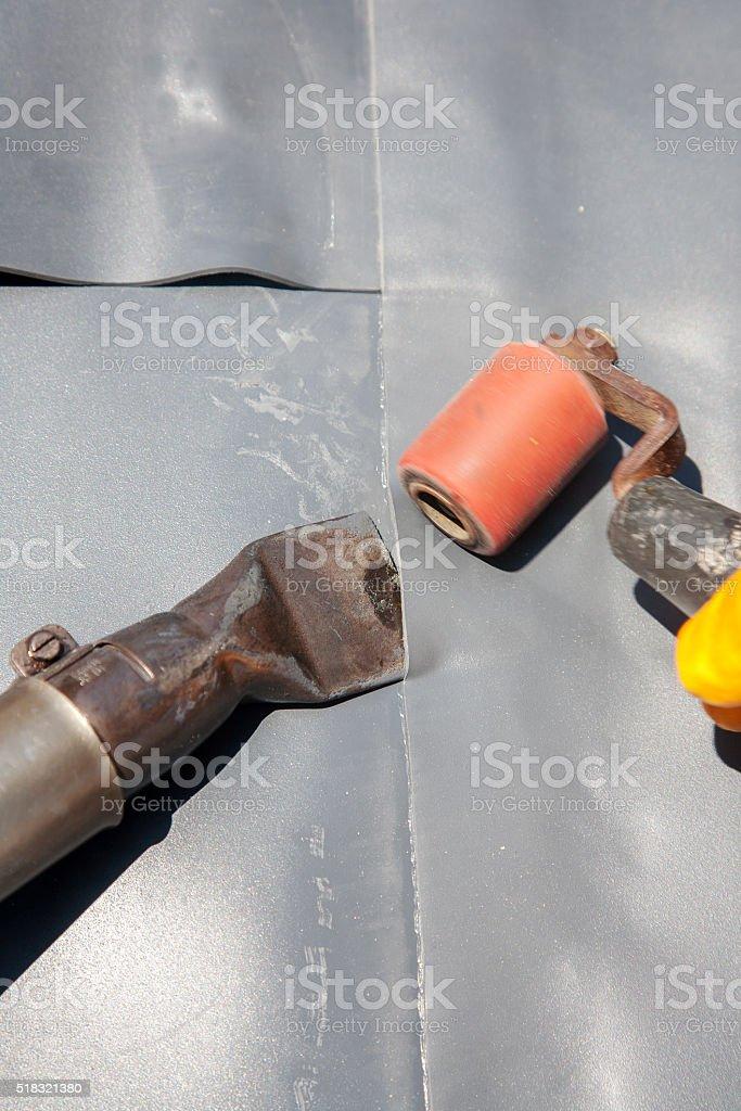 Roof Coating and Bonding stock photo