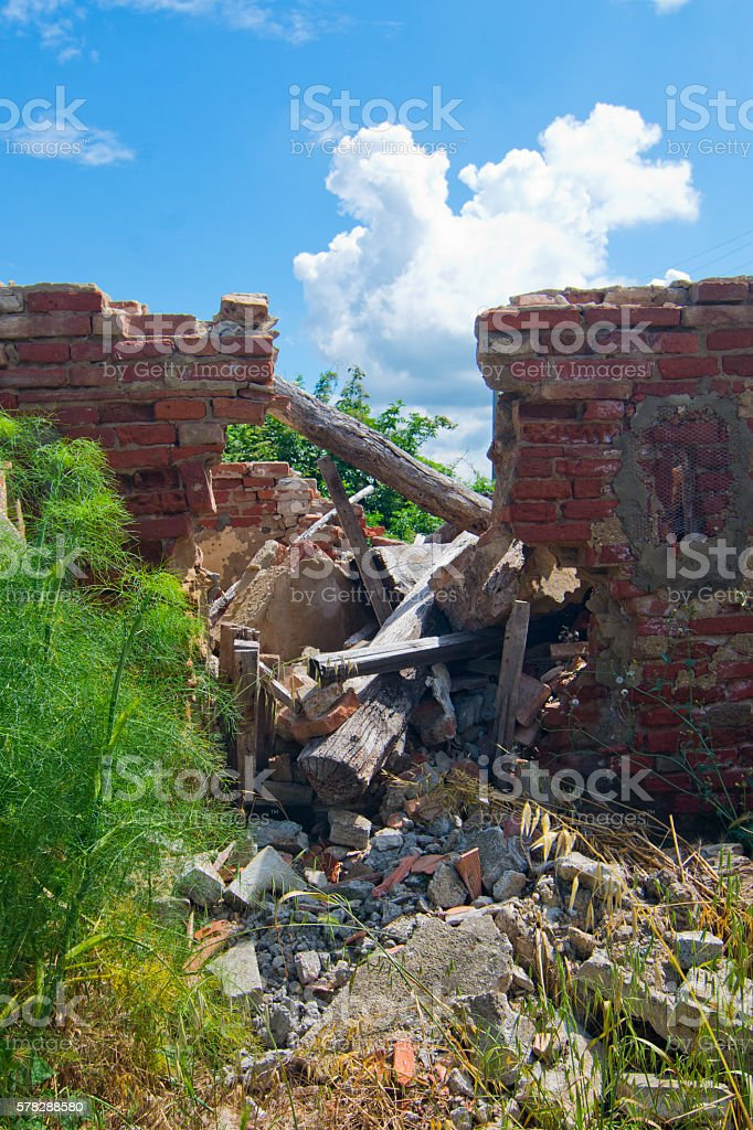 roof collapsed of degraded building stock photo