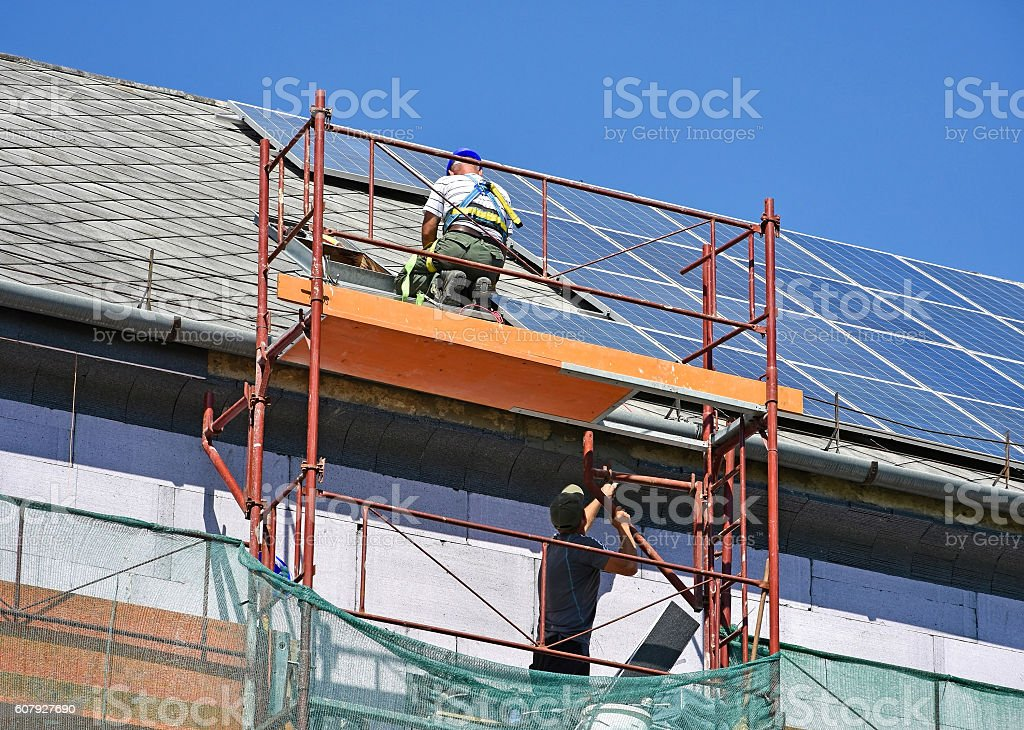 Roof construction of a high building stock photo