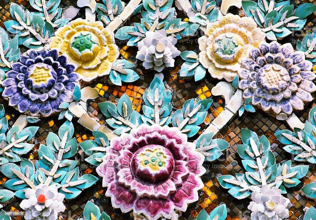 Roof Decoration with ceramic flowers, Grand Palace,Bangkok,Thailand stock photo