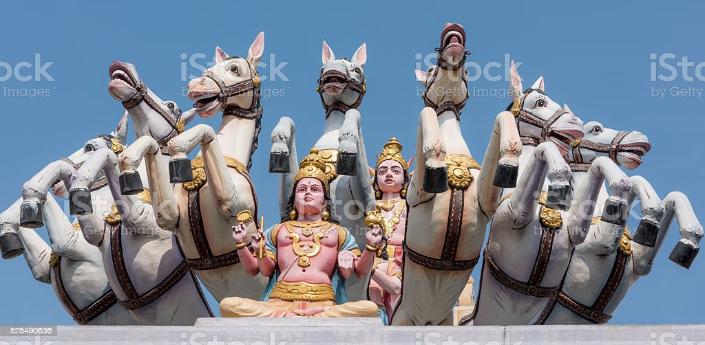 Roof decorations of a Hindu temple in Johor Bahru stock photo