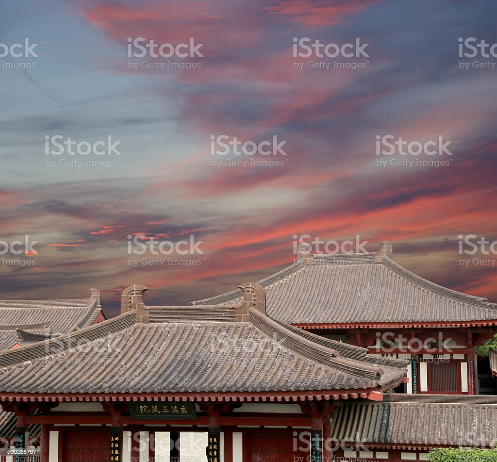 Roof decorations on the territory Giant Wild Goose Pagoda, Xian stock photo