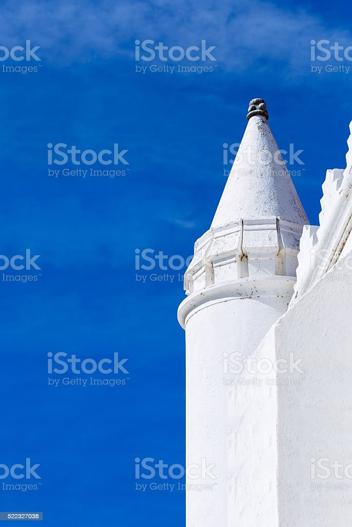 Roof detail. Church of the Assumption of Mary, Mertola, Portugal stock photo