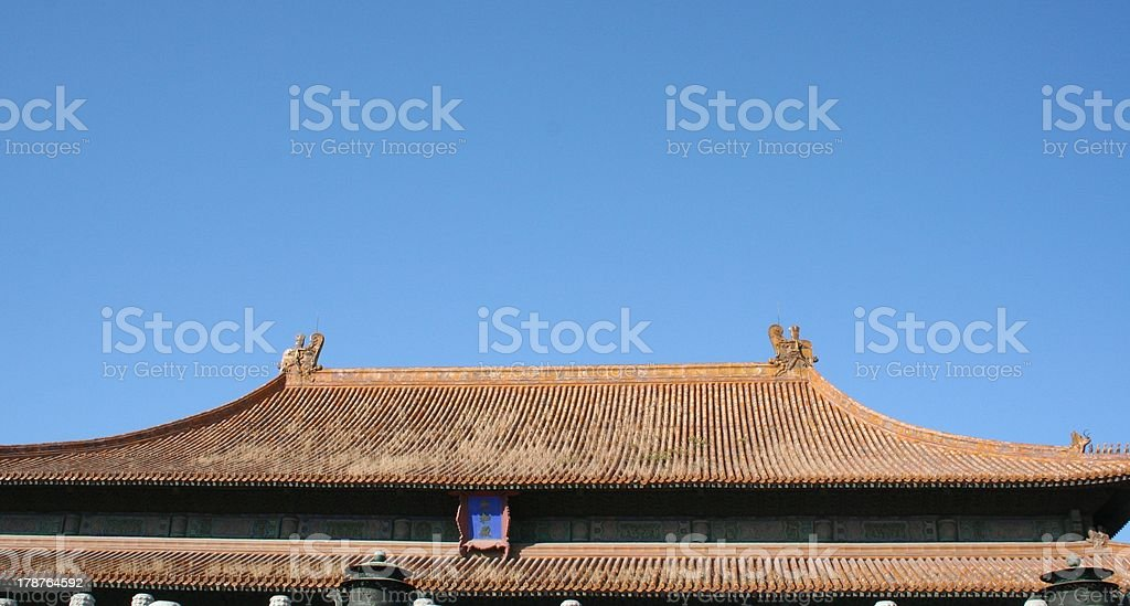 Roof Detail Hall of Supreme Harmony, Forbidden City, Beijing, China royalty-free stock photo